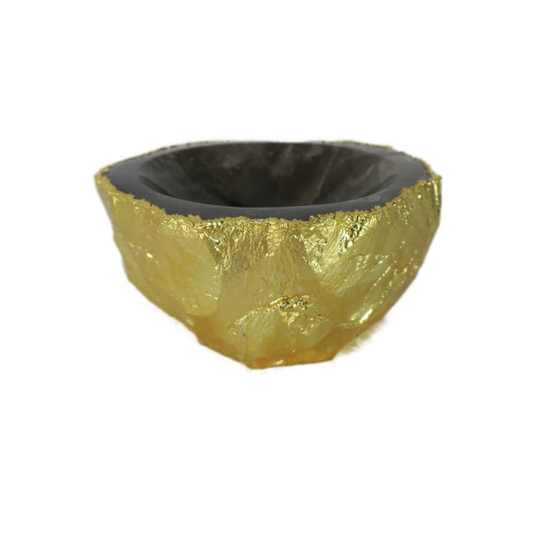 Smoky Quartz Ashtray w/electroplated gold rim