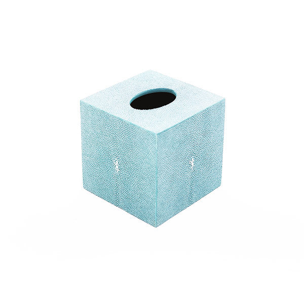 Faux Shagreen Tissue Box  - Turquoise