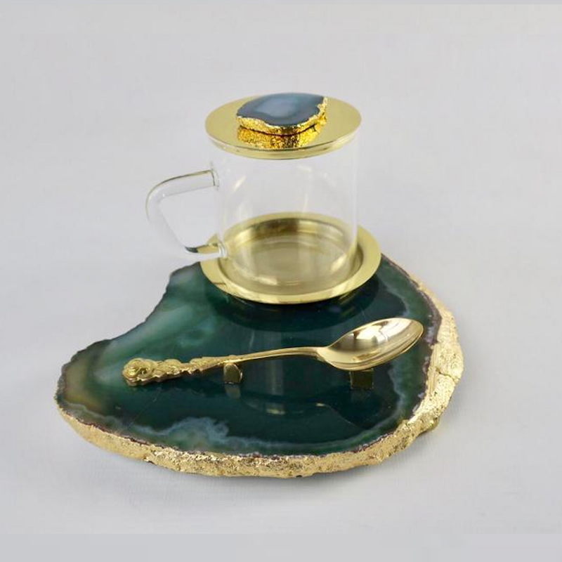 Agate Tea Platter set - Green