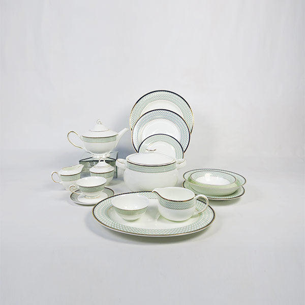 Greenery Gold 51 pc Crockery set - 6 Persons