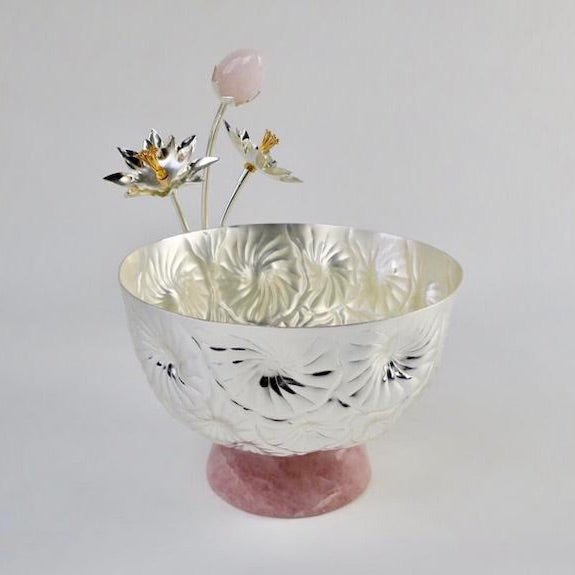 Lotus Stem Bowl w/ Pink Quartz base