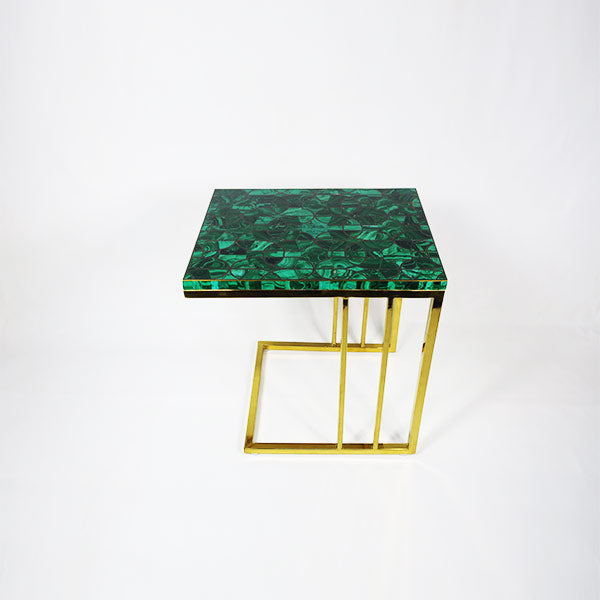 Malachite Peg Table w/gold legs