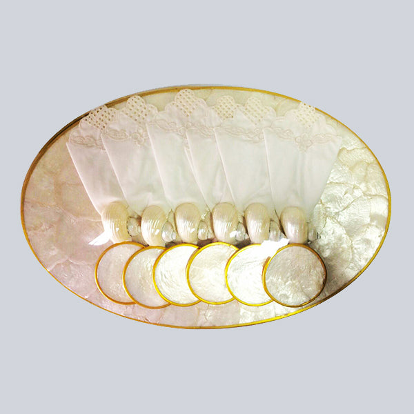 Oval White Capiz placemat (set of 6)