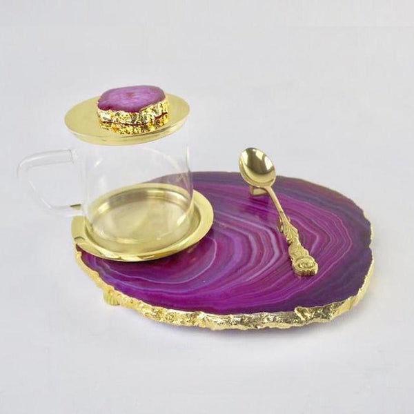 Agate Tea Platter set - Pink