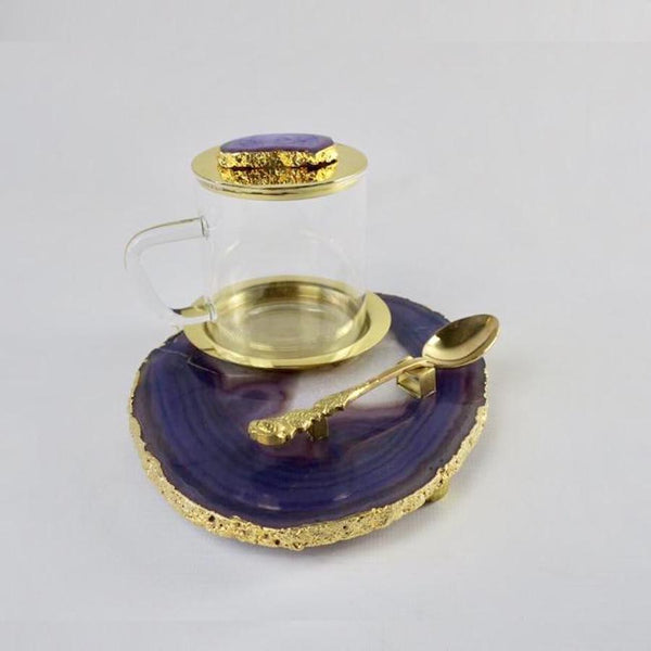 Agate Tea Platter set - Purple