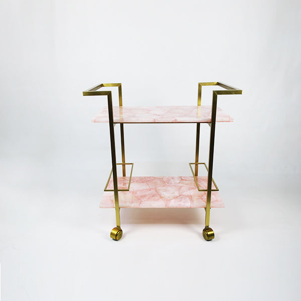 Pink Rose Quartz Serving Trolley