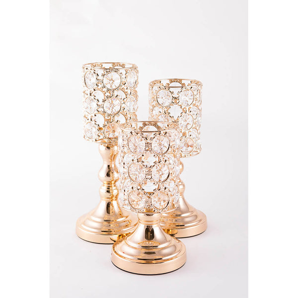 Candle Stand - Gold Circle with Round crystal (L)
