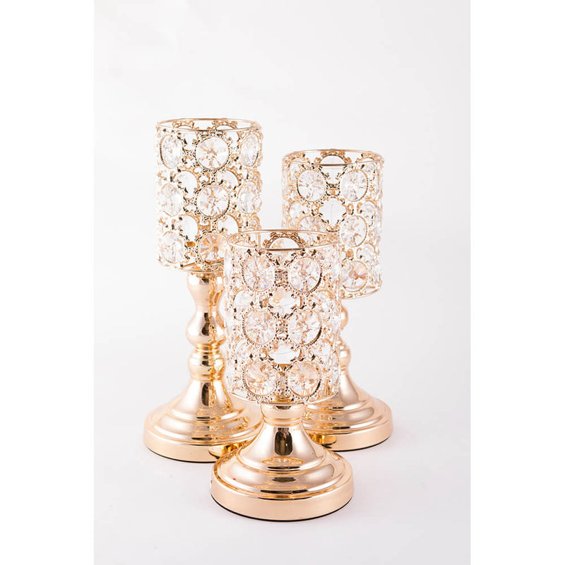 Candle Stand - Gold Circle with Round crystal