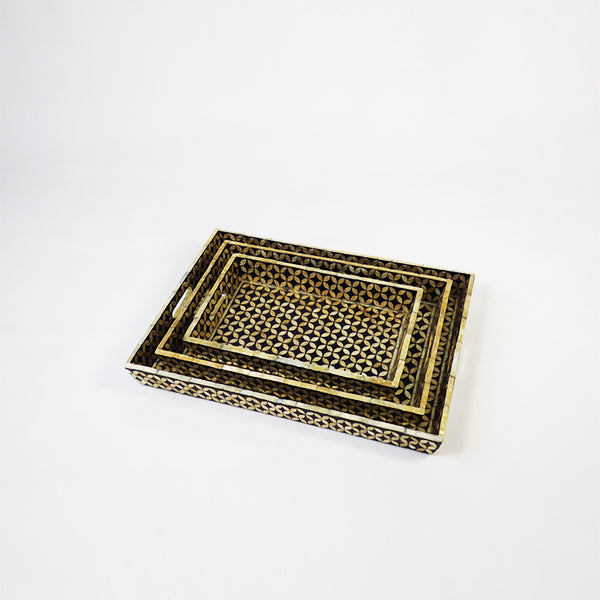 Capiz Rectangular Trays - Honeycomb Black