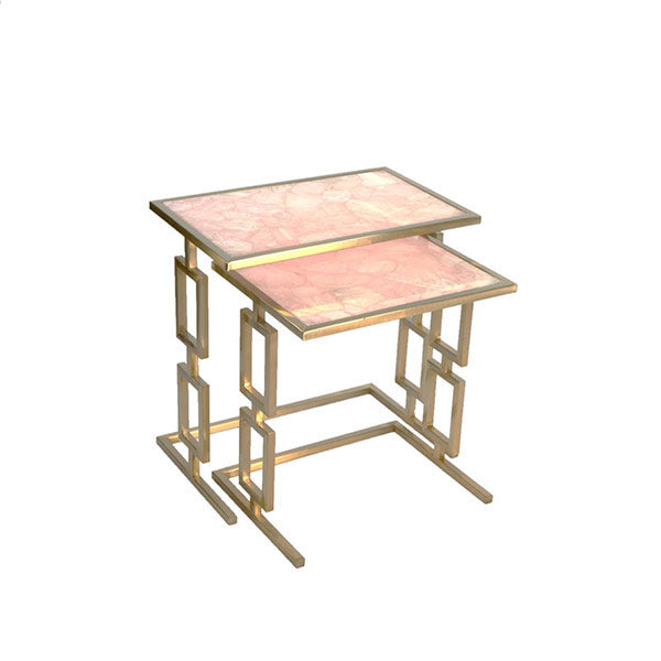 Rose Quartz Grind Nesting Table