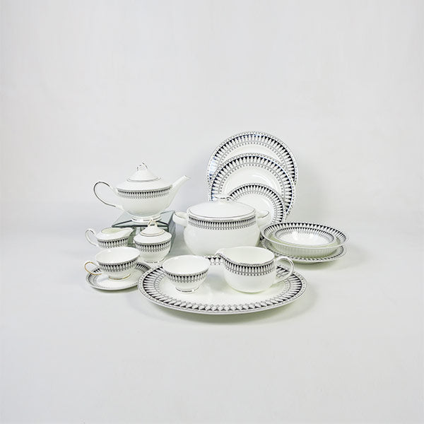 Oval Black white 51 pc Crockery set