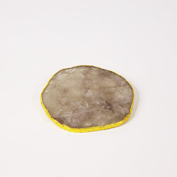 Smoky Quartz Coaster w/electroplated gold rim (set of 4)
