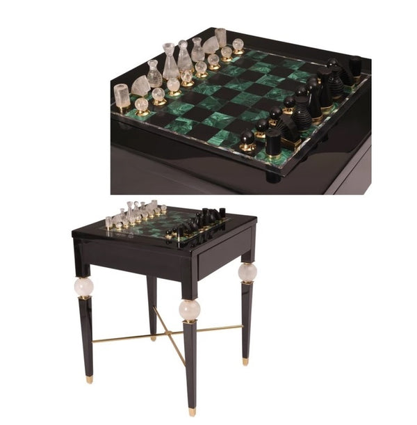 Semi precious malachite chess table