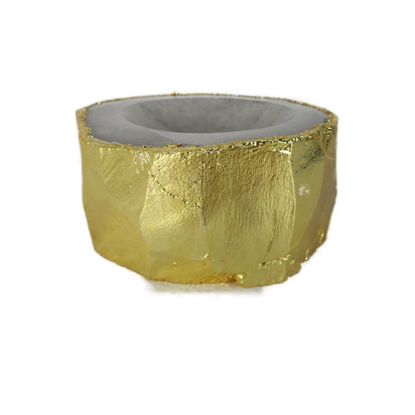 White Quartz Ashtray w/electroplated gold rim
