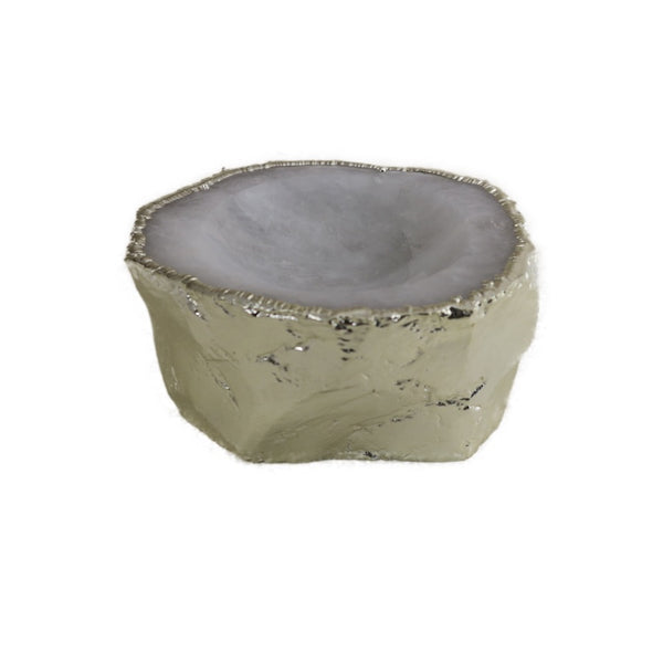 White Quartz Ashtray w/electroplated silver rim