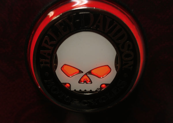 HARLEY DAVIDSON SKULL CHALLENGE COIN LIGHTED LAUNCH BUTTON