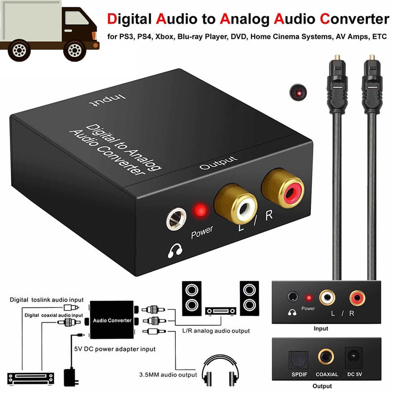 Digital to Analog Audio Converter Adapter RCA Coaxial Optical Cable 3.5mm Jack