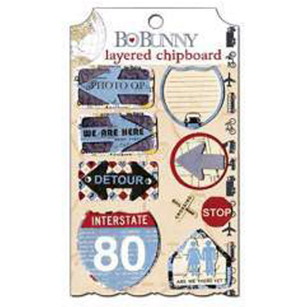 Bo Bunny Detour Layered Chipboard