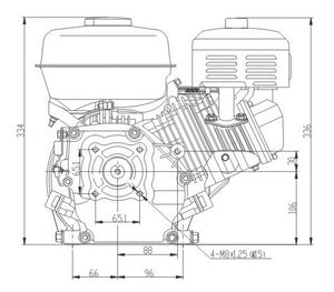 Lifan 6.5hp Petrol Reduction Engine 2:1 Chain
