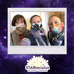 Selfie of Debbie, Emily, and Kelle wearing space masks in a polaroid-stlye frame on a purple galaxy background with the STARtorialist logo bottom center.