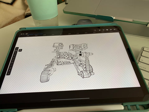 Picture of Mars rover line drawing on an iPad screen, showing grid lines and app toolbars,