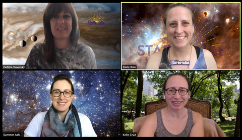 Screenshot of four people on zoom in front of virtual backgrounds