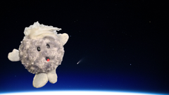 Comet plush toy with Comet NEOWISE as observed by astronauts on the ISS