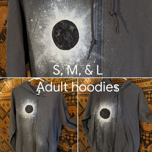 Eclipse Hand-Painted Gray Zip-Up Hooded Sweatshirt