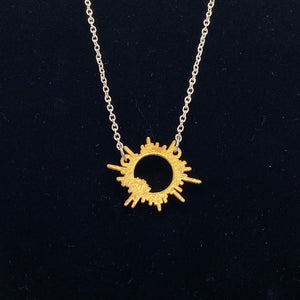 Solar Eclipse 3D Printed Metal Necklace