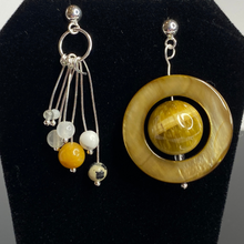 Load image into Gallery viewer, Saturn & Moons Asymmetric Dangle Earrings