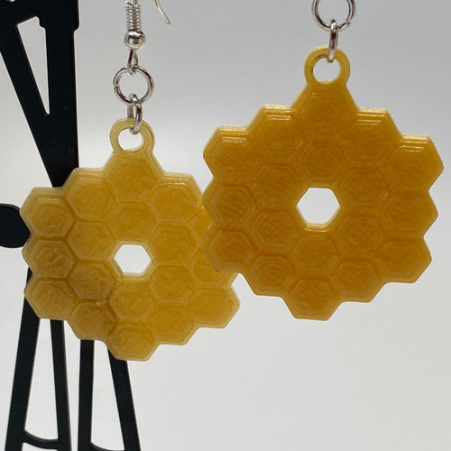 James Webb Space Telescope Mirror 3D Printed Earrings