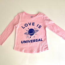 Load image into Gallery viewer, Kids T-shirt-Love is Universal pink Saturn blue long sleeve