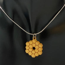 Load image into Gallery viewer, James Webb Space Telescope Mirror 3D Printed Metal Necklace