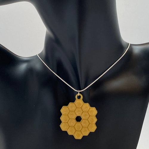 James Webb Space Telescope Mirror 3D Printed Necklace