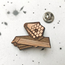 Load image into Gallery viewer, James Webb Space Telescope Wood Brooch/Lapel Pin