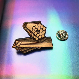 James Webb Space Telescope Wood Brooch/Lapel Pin