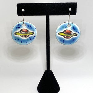 Ceramic Round Saturn Earrings