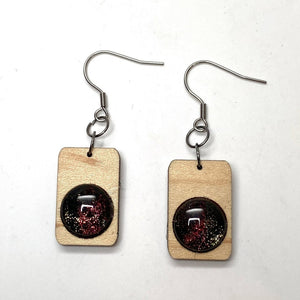 Painted Glass Wood Stainless Dangle Earrings