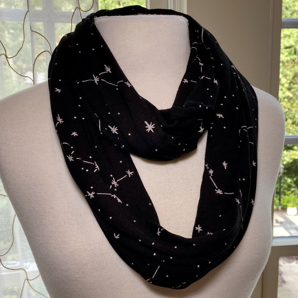 Constellation Glow-in-the-Dark Infinity Scarf with Pocket