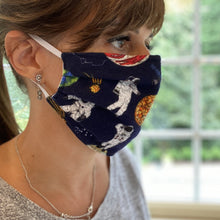 Load image into Gallery viewer, Space Print Pleated Cotton Face Mask