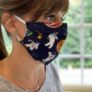 Space Print Pleated Cotton Face Mask