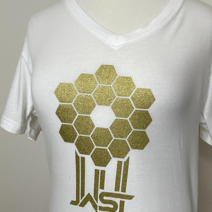 Fitted James Webb Space Telescope Mirror White V-Neck T-Shirt