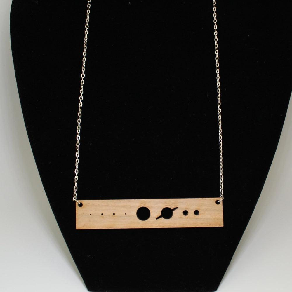 Solar System Cut Shape Planets Rectangle Wooden Necklace