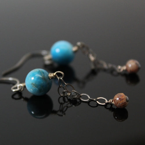 Neptune and Moons Dangle Earrings