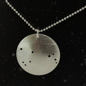 Zodiac Constellation Pinhole Sterling Silver Necklace
