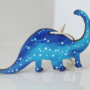 Starry Dinosaur Hand-Painted Wood Ornament