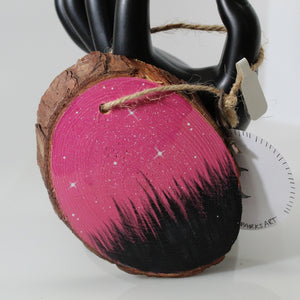Starry Pink Sky Hand-Painted Wood Slice Ornament