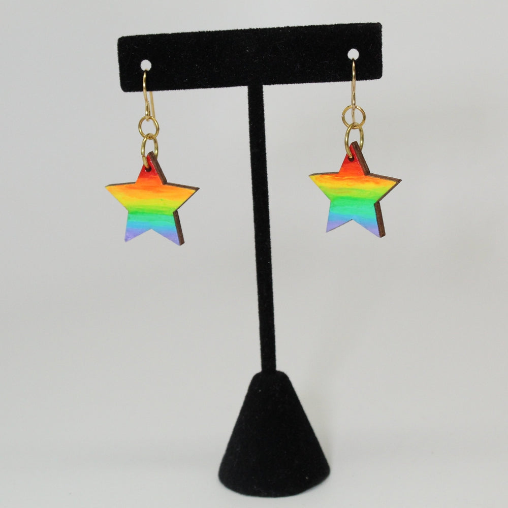 Visible Spectrum + Night Sky Star-Shaped Wood Earrings