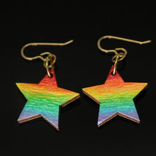 Load image into Gallery viewer, Visible Spectrum + Night Sky Star-Shaped Wood Earrings