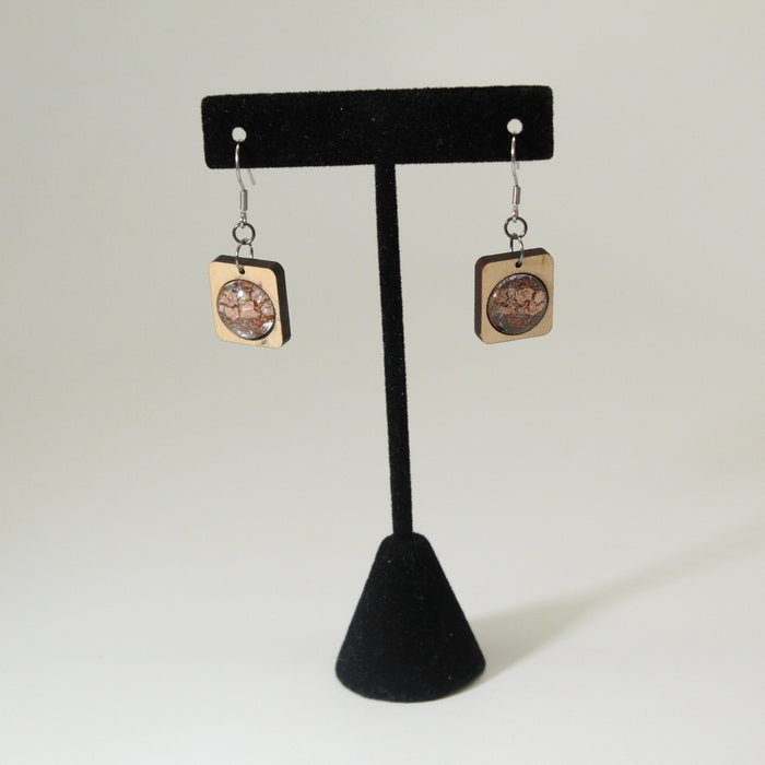 Space-Inspired Wood & Glass Earrings
